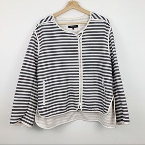 Lafayette 148 Striped Blazer Jacket XL Zip Up Blue